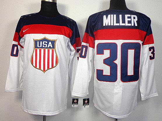 Mens nhl team usa #30 miller white (2014 olympics) Jersey