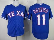 Mens mlb texas rangers #11 darvish blue Jersey