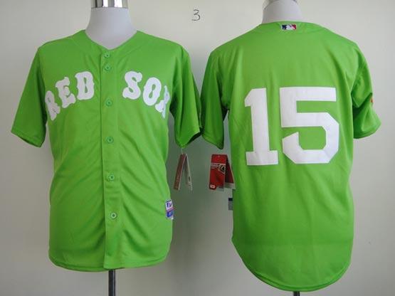 Mens mlb boston red sox #15 pedroia green (no name) Jersey