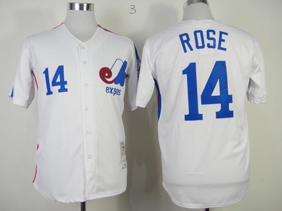 Mens mlb montreal expos #14 rose white throwbacks Jersey