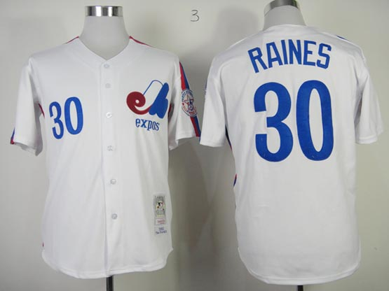 Mens mlb montreal expos #30 raines white throwbacks Jersey