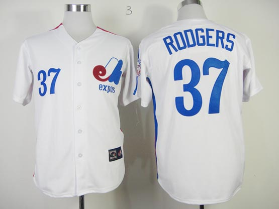 Mens mlb montreal expos #37 rodgers white Jersey