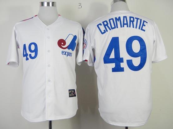 Mens mlb montreal expos #49 cromartie white Jersey