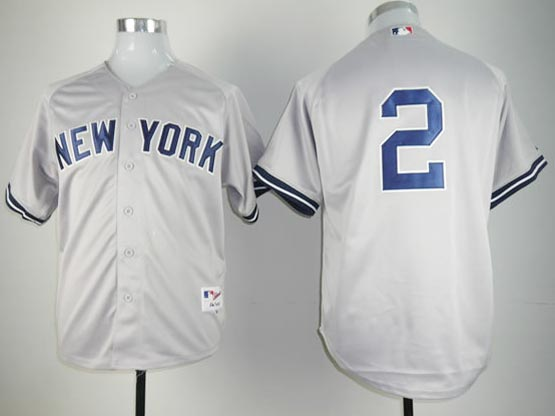 Mens mlb new york yankees #2 jeter gray (no name) Jersey