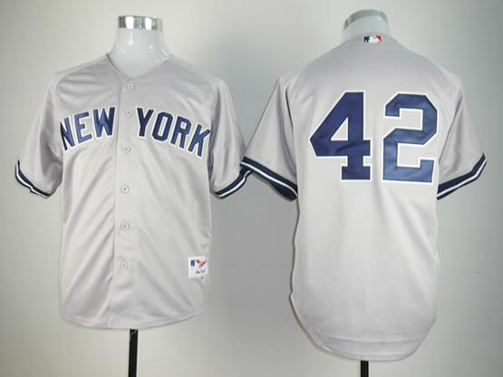 Mens mlb new york yankees #42 rivera gray (no name) Jersey