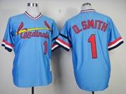 Mens mlb st.louis cardinals #1 o.smith blue throwbacks Jersey