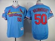 Mens Mlb St.louis Cardinals #50 Adam Wainwright Blue Jersey