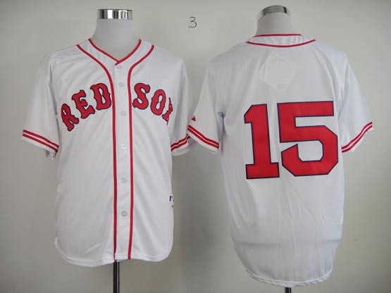 Mens mlb boston red sox #15 pedroia white (no name) Jersey
