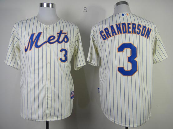 Mens mlb new york mets #3 granderson cream (blue stripe) Jersey
