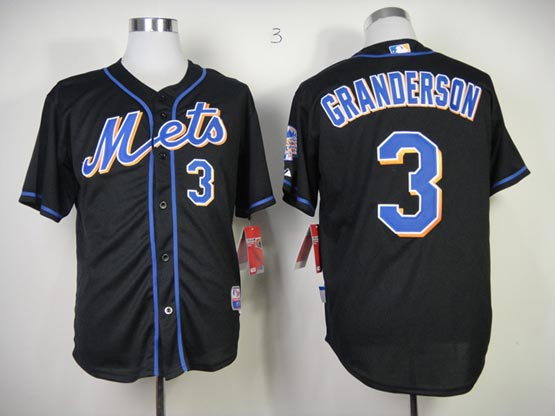 Mens mlb new york mets #3 granderson black Jersey