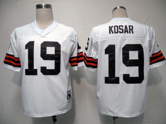 Mens nfl cleveland browns #19 kosar white throwbacks Jersey