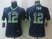 Women  Nfl Seattle Seahawks #12 Fan Blue Drift Fashion Elite Jersey