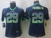 Women  Nfl Seattle Seahawks #29 Thomas Iii Blue Drift Fashion Elite Jersey