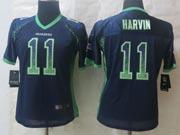 Women  Nfl Seattle Seahawks #11 Harvin Blue Drift Fashion Elite Jersey