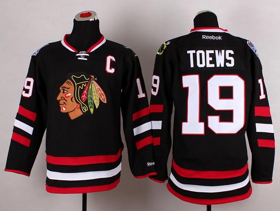 Mens reebok nhl chicago blackhawks #19 toews black (2014 stadium series) Jersey