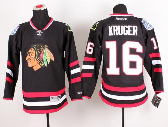 Mens reebok nhl chicago blackhawks #16 kruger black (2014 stadium series) Jersey