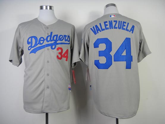 Mens Mlb Los Angeles Dodgers #34 Valenzuela Gray (2014 New) Jersey
