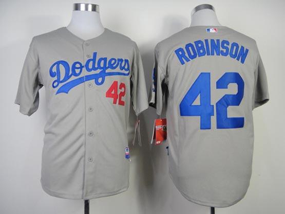 Mens Mlb Los Angeles Dodgers #42 Robinson Gray (2014 New) Throwbacks Jersey