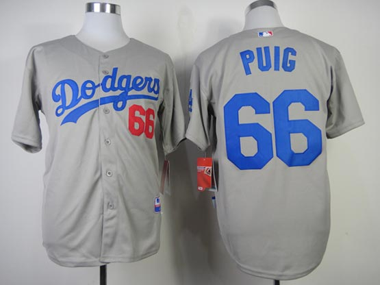 Mens mlb los angeles dodgers #66 puig gray (2014 new) Jersey