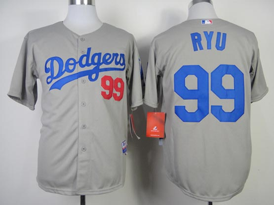 Mens mlb los angeles dodgers #99 ryu gray (2014 new) Jersey