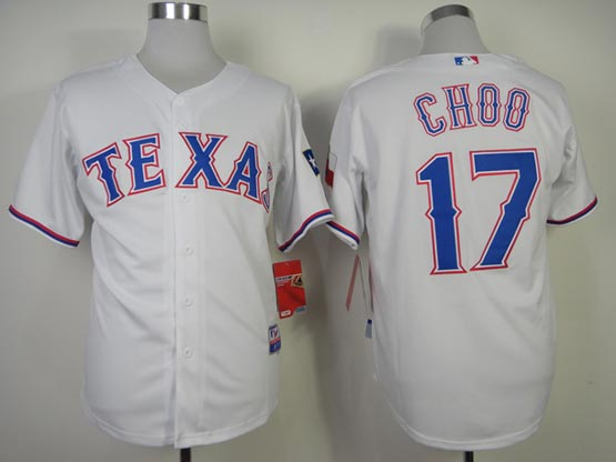 Mens mlb texas rangers #17 choo white (2014 new) Jersey
