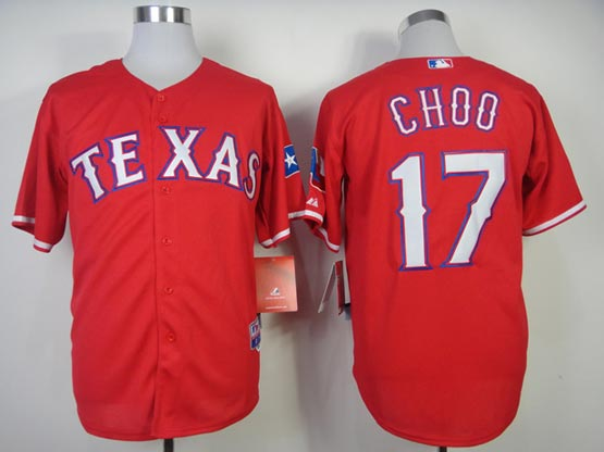 Mens mlb texas rangers #17 choo red (2014 new) Jersey