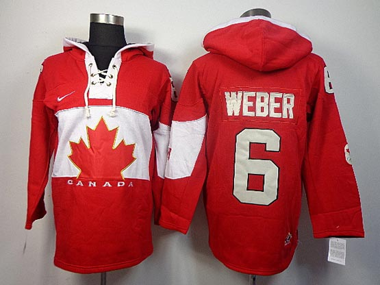 Mens nhl team canada #6 weber red hoodie (2014 olympics) Jersey