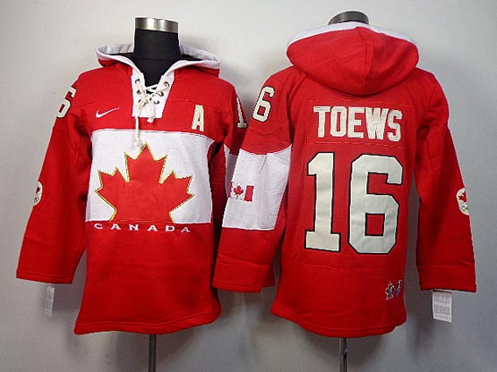 Mens nhl team canada #16 toews red hoodie (2014 olympics) Jersey
