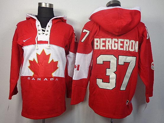 Mens nhl team canada #37 bergeron red hoodie (2014 olympics) Jersey