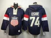 Mens nhl team usa 2014 olympics #74 oshie blue hoodie Jersey