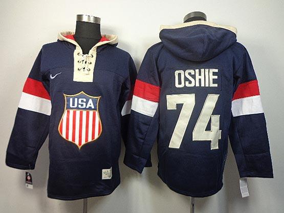 Mens nhl team usa 2014 olympics #74 oshie blue hoodie Jersey