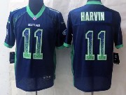Mens Nfl Seattle Seahawks #11 Harvin Drift Fashion Dark Blue Elite Jersey