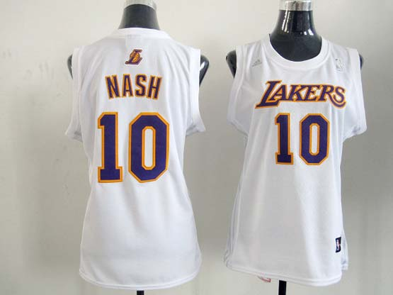 Women  Nba Los Angeles Lakers #10 Nash White Jersey