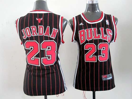 Women  Nba Chicago Bulls #23 Jordan Black (red Stripe) Jersey