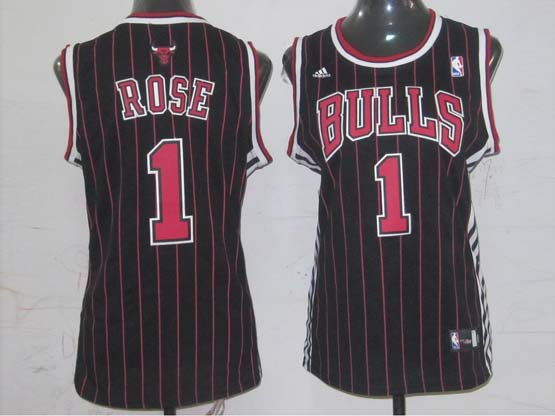 Women  Nba Chicago Bulls #1 Rose Black (red Stripe) Jersey