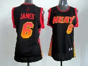 Women  Nba Miami Heat #6 James Black (colour Number) Jersey
