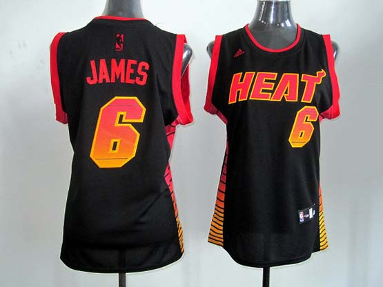 Women  Nba Miami Heat #6 James Black (colour Number) Jersey
