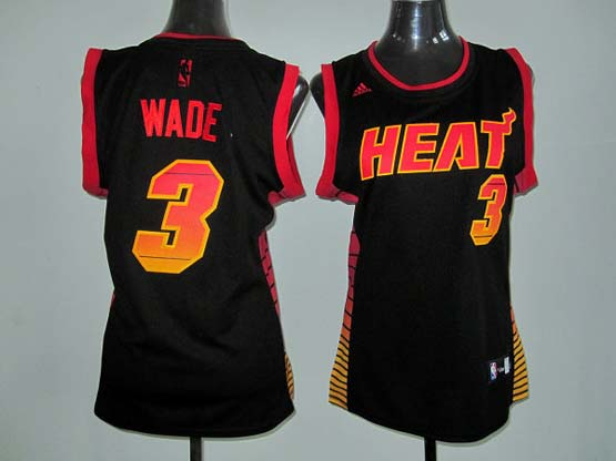 Women  Nba Miami Heat #3 Wade Black (colour Number) Jersey