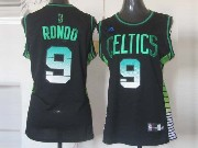 Women  Nba Boston Celtics #9 Rondo Black (colour Number) Jersey