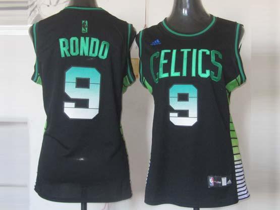 Women  Nba Boston Celtics #9 Rondo Black (colour Number) Jersey