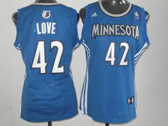 Women  Nba Minnesota Timberwolves #42 Love Blue Jersey