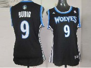 Women  Nba Minnesota Timberwolves #9 Rubio Black Jersey