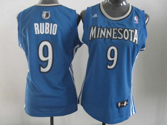 Women  Nba Minnesota Timberwolves #9 Rubio Blue Jersey