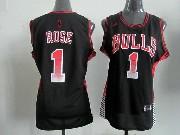 Women  Nba Chicago Bulls #1 Rose Black (colour Number) Jersey