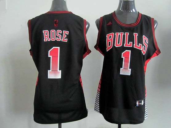 Women  Nba Chicago Bulls #1 Rose Black (colour Number) Jersey