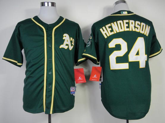 Mens mlb oakland athletics #24 henderson green (2014 new) Jersey