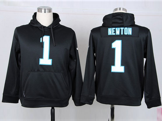 mens nfl Carolina Panthers #1 Cam Newton black hoodie jersey