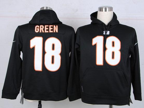 mens nfl Cincinnati Bengals #18 AJ Green black hoodie jersey