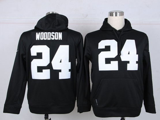 mens nfl Oakland Raiders #24 Charles Woodson black (white number) hoodie jersey