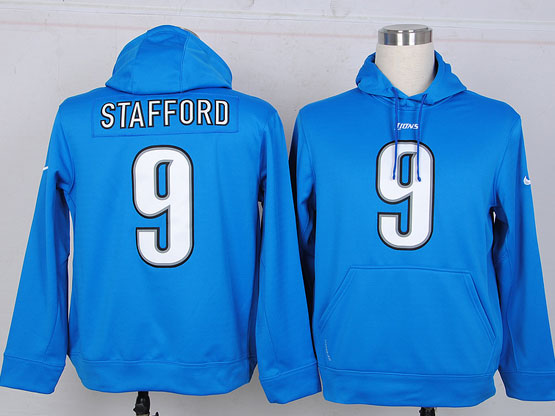 mens nfl detroit lions #9 stafford Light Blue hoodie jersey